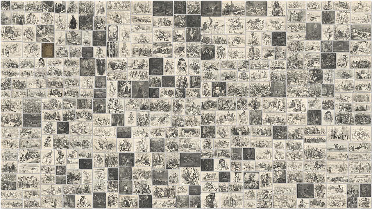 Collage delle incisioni di Gustave Doré dal Don Chisciotte