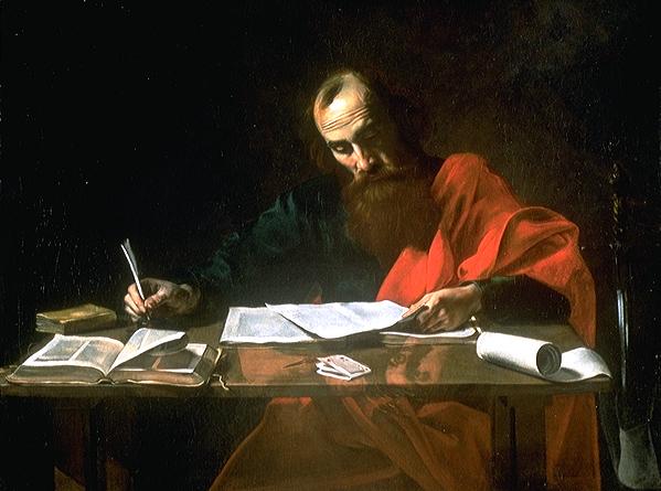 Valentin de Boulogne - San Paolo scrive le sue epistole (1620)